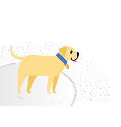 Yellow cheerful dog breed labrador retriever vector