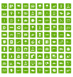 100 dispatcher icons set grunge green vector