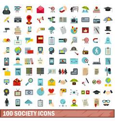 100 society icons set flat style vector