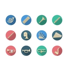 Woodwind and brass instruments round icons vector image