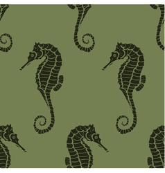 Seamless pattern from seahorses vector
