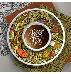 Cup of coffee octoberfest doodles on a saucer vector