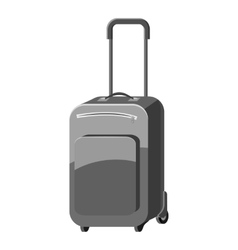 Suitcase on wheels icon gray monochrome style vector
