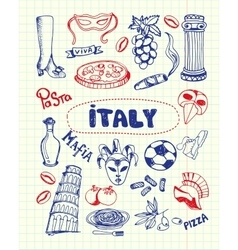 Italy symbols pen drawn doodles collection vector