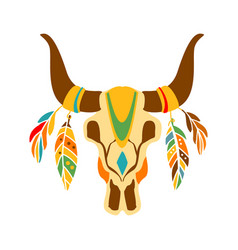 Buffalo bull scull decorated with painting and vector