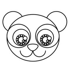 silhouette cartoon cute face panda bear with vector image