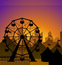 Ferris wheel and circus silhouette vector