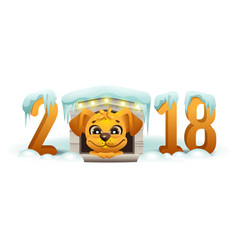 2018 year of yellow dog in chinese calendar vector image vector image