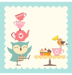 Owl tea time vector