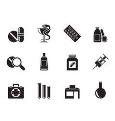 Silhouette Pharmacy and Medical icons vector image