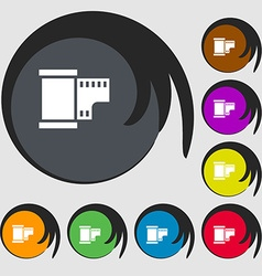 35 mm negative films icon symbols on eight colored vector