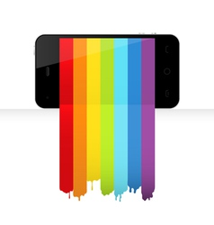 Smartphone with rainbow paint vector