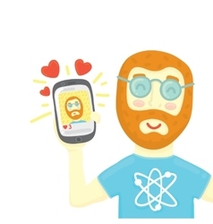 Geek with smartphone get some likes in social vector