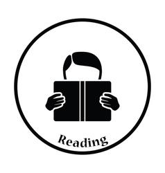 Icon of boy reading book vector