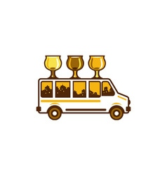 Beer flight glass van retro vector
