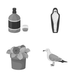 Alcohol history and other monochrome icon in vector
