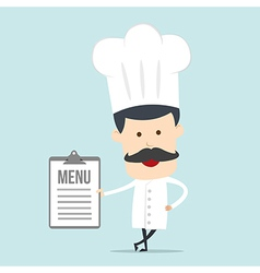 Chef show blank board for use in advertising vector image