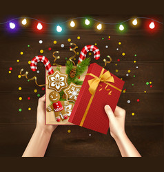 Christmas gift wood background vector