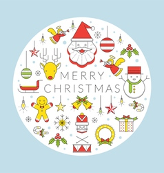 Christmas Line Icons Label vector image