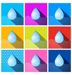 Colorful Water Drops Icons - Symbols Set vector image