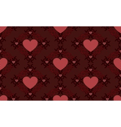 Dark red hearts pattern vector image