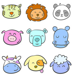 Doodle animal head colorful vector
