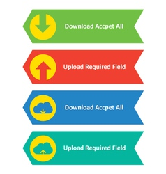 Download upload and cloud download upload buttons vector
