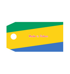 Gabon flag on price tag with word made in gabon vector