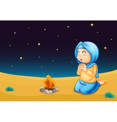 Girl praying vector