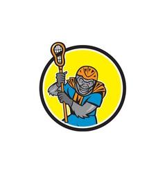 Gorilla Lacrosse Player Circle Cartoon vector image