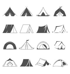 hiking and camping tent icons tourism and vector image vector image