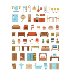 Home and office furniture interiors flat icons set vector image