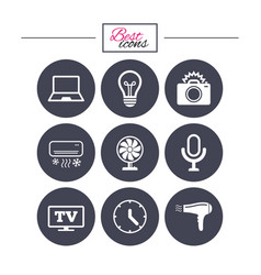 Home appliances device icons air conditioning vector
