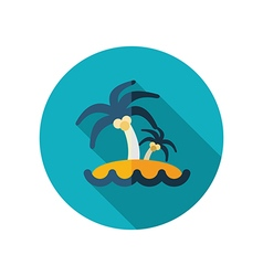 Island with palm trees flat icon summer vacation vector