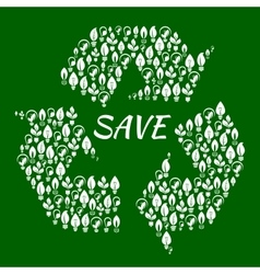 Light bulbs with leaves in shape of recycle symbol vector image