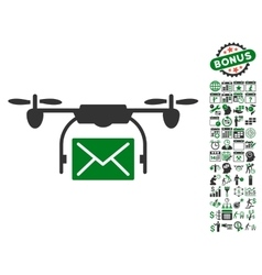 Mail delivery drone icon with bonus vector