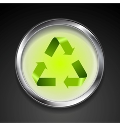 Metal button with green recycle logo sign vector