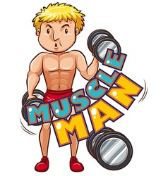 Muscle man with athlete vector image