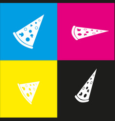 Pizza simple sign white icon with vector