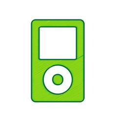 Portable music device lemon scribble icon vector