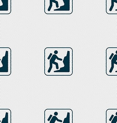 rock climbing sign Seamless pattern with geometric vector image vector image