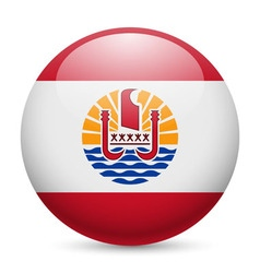 Round glossy icon of french polynesia vector