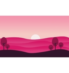 Silhouette of hill and sun landscape vector image vector image
