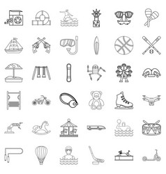 swimming icons set outline style vector image