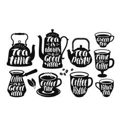 Tea coffee label set vintage kettle teapot cup vector