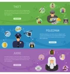 Theft Crime and Punishment Horizontal Banners vector image vector image