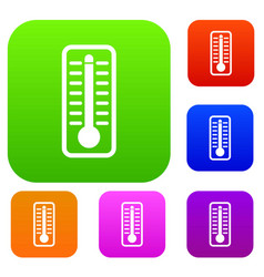 thermometer indicates high temperature set vector image