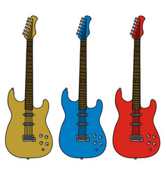 Three electric guitars vector