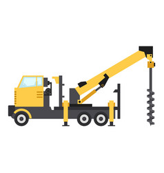 truck drilling icon flat style vector image vector image