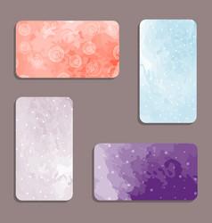 watercolor visiting card set vector image